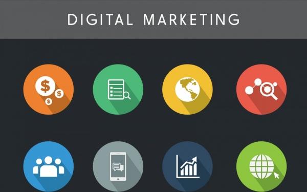 digital marketing design elements colorful flat circles isolation