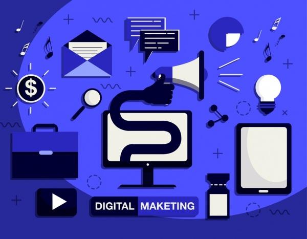 digital marketing design elements communication icons dark design