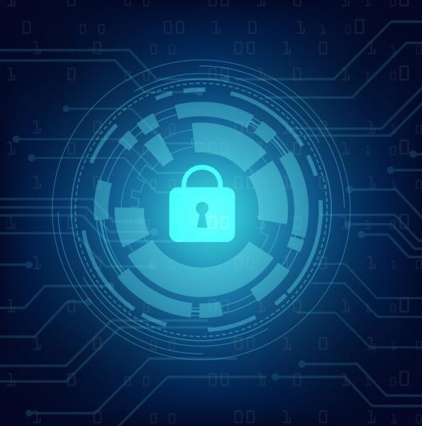digital secure background lock circle icons dark blue
