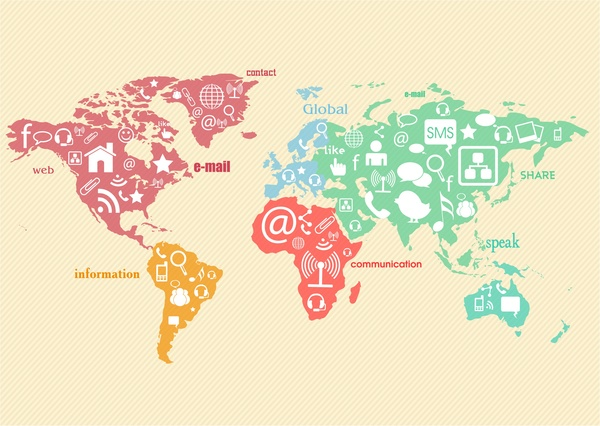 digital social communication with interfaces on map illustration