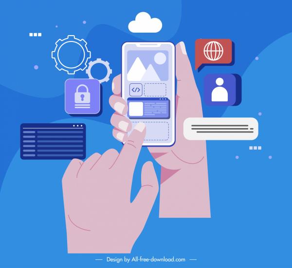 digital technology concept background phone application ui sketch