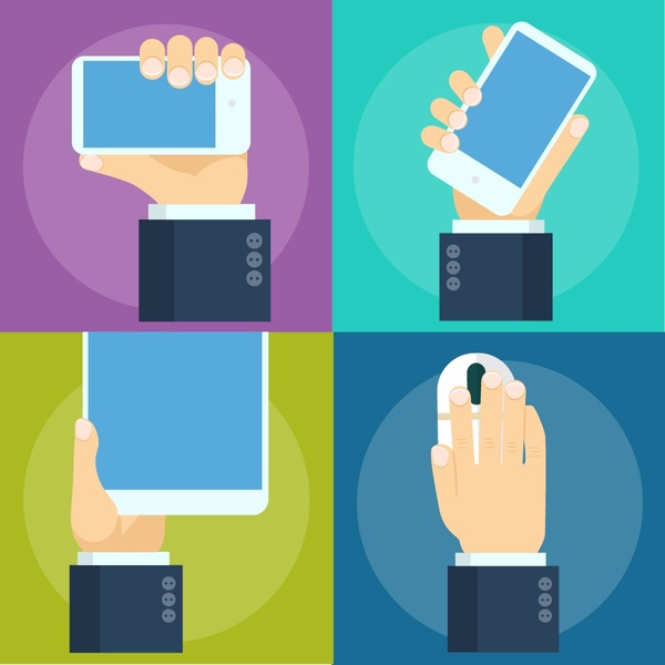 digital technology devices concepts with practical hand illustration