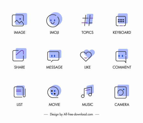 digital ui icons classic flat handdrawn sketch