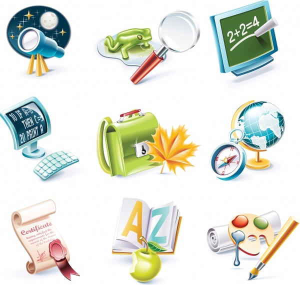 education icons colorful modern 3d design