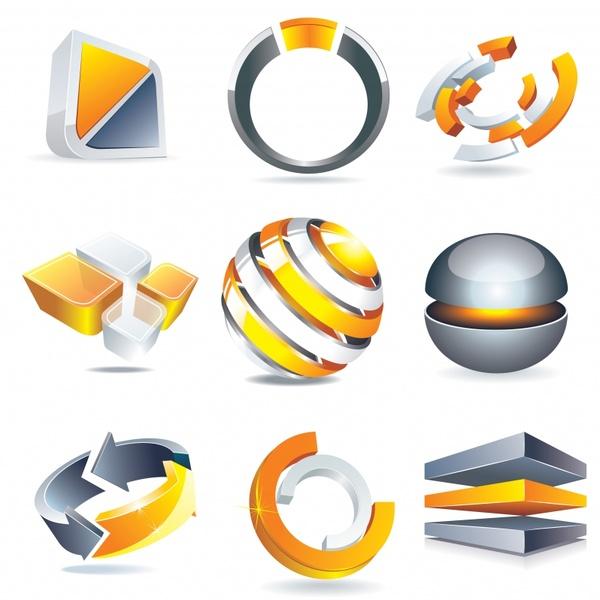 logo templates shiny modern 3d shapes