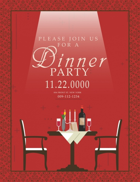 dinner party invitation card red design table decoration free vector