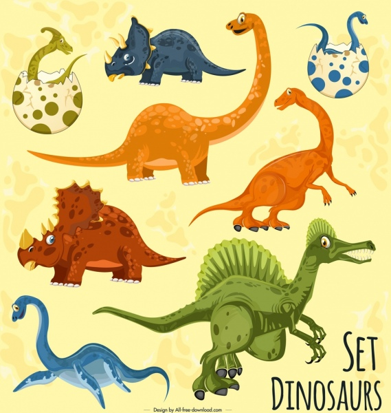 dinosaur background colored cartoon characters decor