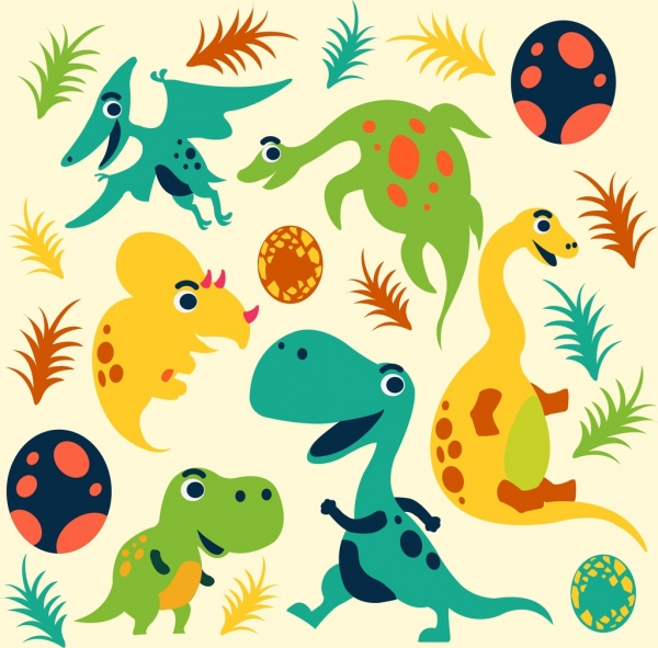 dinosaur background cute cartoon icons multicolored sketch