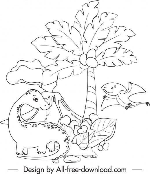 dinosaur drawing cartoon sketch black white handdrawn
