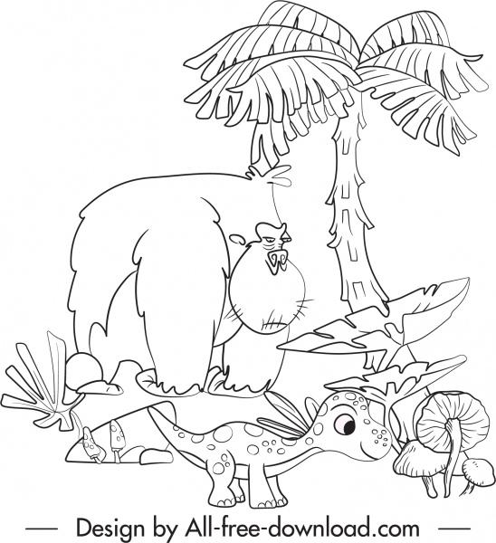 dinosaur drawing funny cartoon sketch black white handdrawn