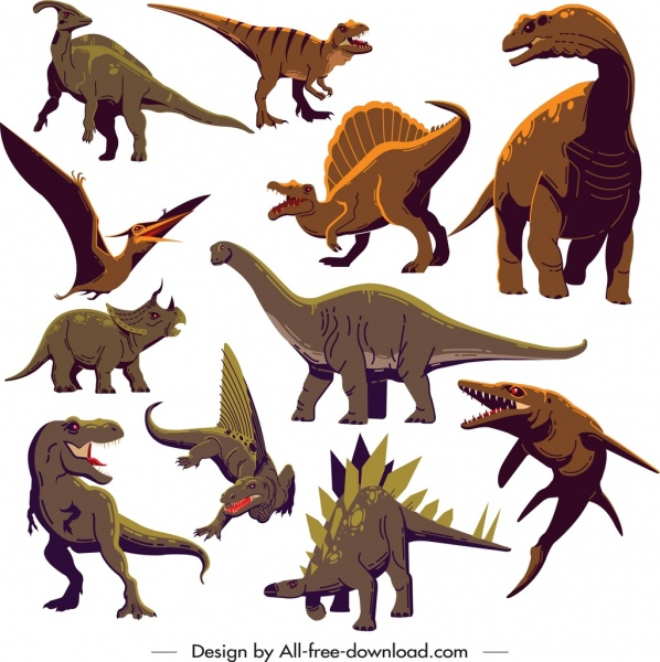 dinosaur icons collection colored cartoon characters sketch