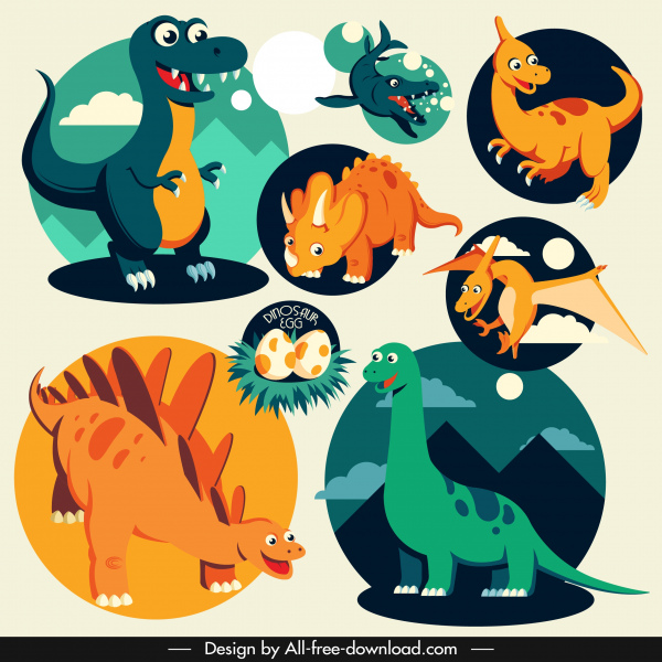 dinosaur icons colored cartoon characters sketch