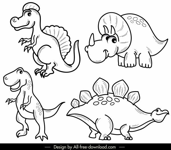 dinosaur icons cute cartoon sketch black white handdrawn
