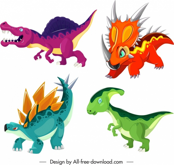 dinosaur species icons colored cartoon characters sketch