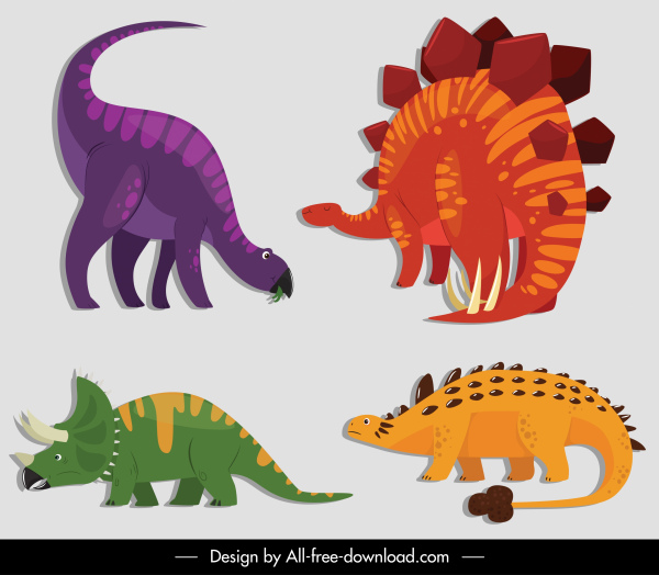 dinosaurs icons colored cartoon sketch