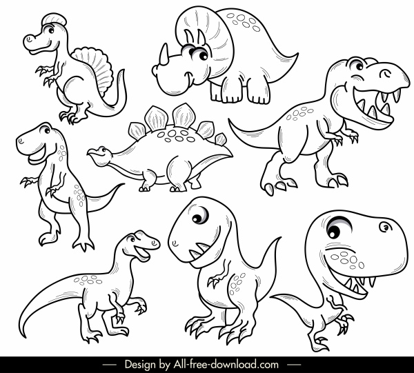 dinosaurs species icons black white handdrawn cartoon sketch