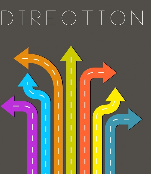 direction background multicolored road arrows decoration