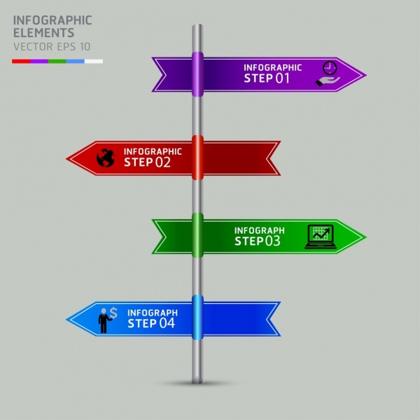 directions infographic template multicolored signboard icon