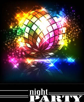disco night party neon background vector