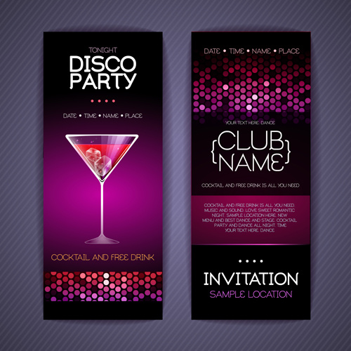 Disco Party Invitation Cards Creative Vector Free Vector In