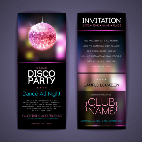 Disco Party Invitation Cards Creative Vector Free Vector In