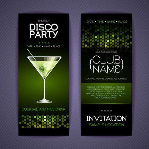 Disco party night invitation cards vector Free vector in ...