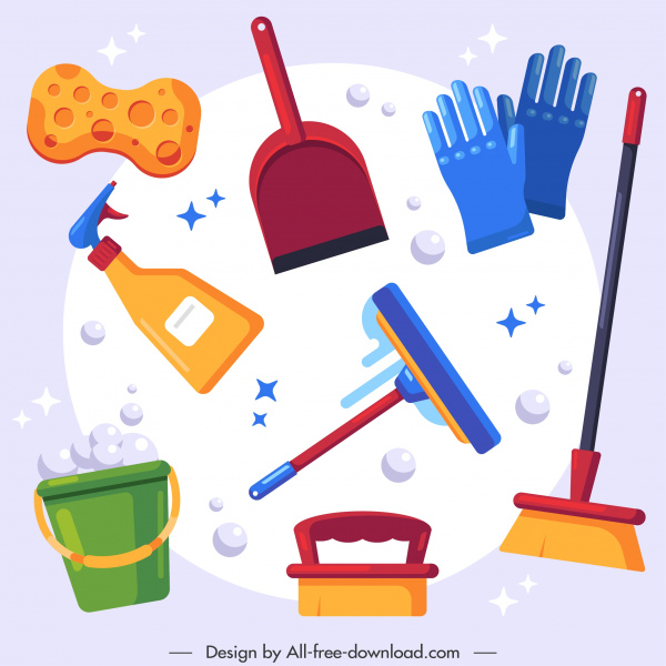 disinfect tools icons colorful flat sketch