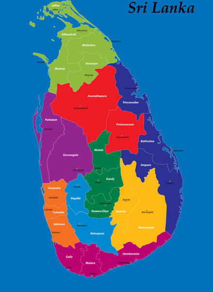 District And Province Map Of Sri Lanka Free Vector In Adobe