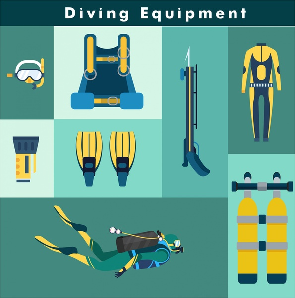 diving equipment vector illustration with flat color style
