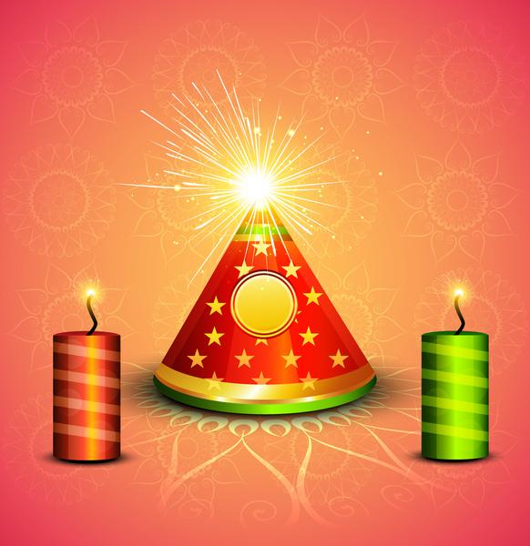 Diwali Crackers Hindu Festival Bright Colorful Vector