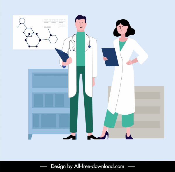 Doctor Career Background Cartoon Sketch Uniformed People Free Vector In Adobe Illustrator Ai Ai Format Encapsulated Postscript Eps Eps Format Format For Free Download 2 21mb
