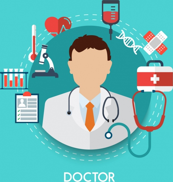 doctor career design elements various colored symbols