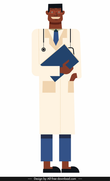 doctor icon colored flat sketch cartoon character sketch