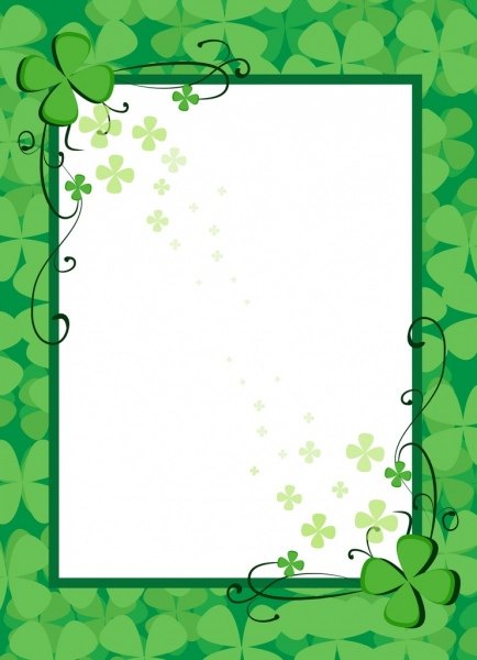 document border template green flowers decoration free vector in
