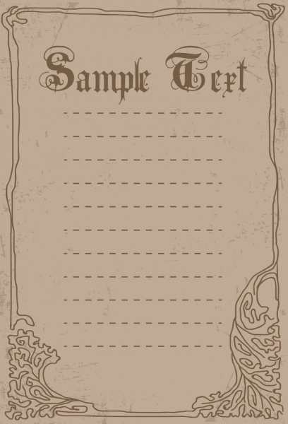 document border template handdrawn pattern retro style