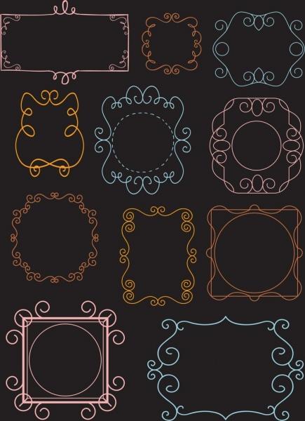document border templates classical symmetric curves decor