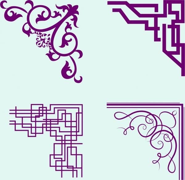 document corners templates violet seamless design