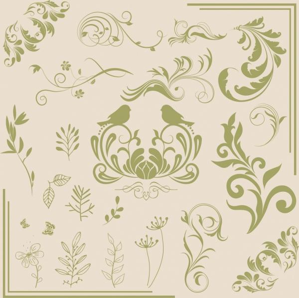 document decor design elements classical flower bird pattern
