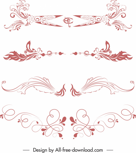 document decor elements classical elegant symmetric shapes