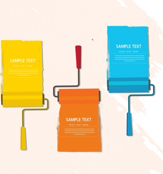 document decoration design elements colorful painting roller icons