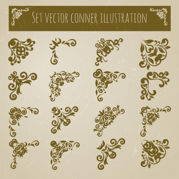 document decorative corners sets various flat symmetric decor