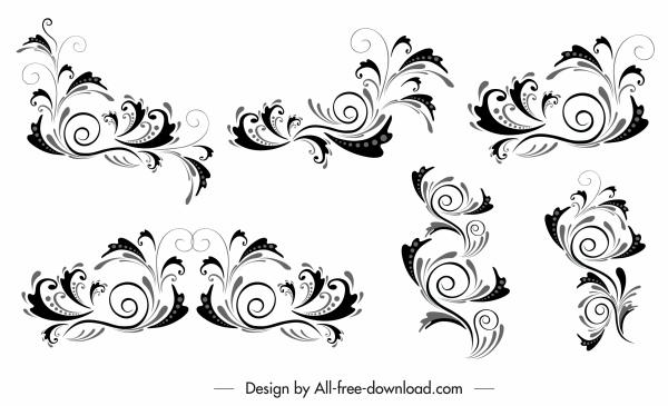 document decorative elements black white classic curves sketch
