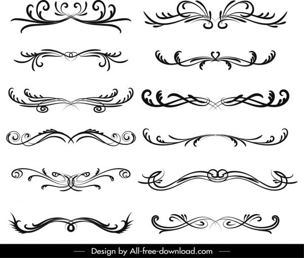 document decorative elements black white symmetrical swirled sketch