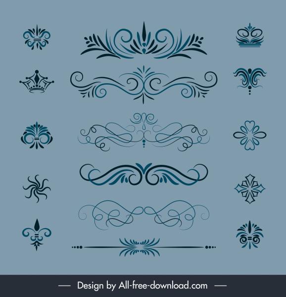 document decorative elements elegant classical shapes