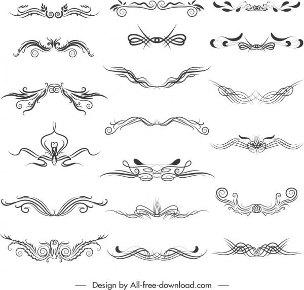 document decorative elements elegant symmetrical curves sketch