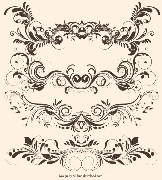 document decorative elements elegant vintage symmetric curves