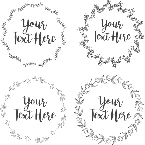 document decorative sets circle leaves isolation flat outline