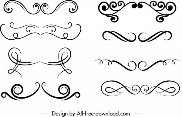 document decorative templates black white symmetrical shapes