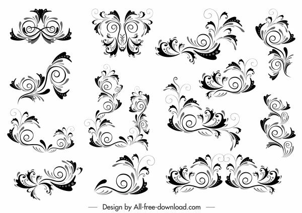 document decorative templates elegant classic curves sketch