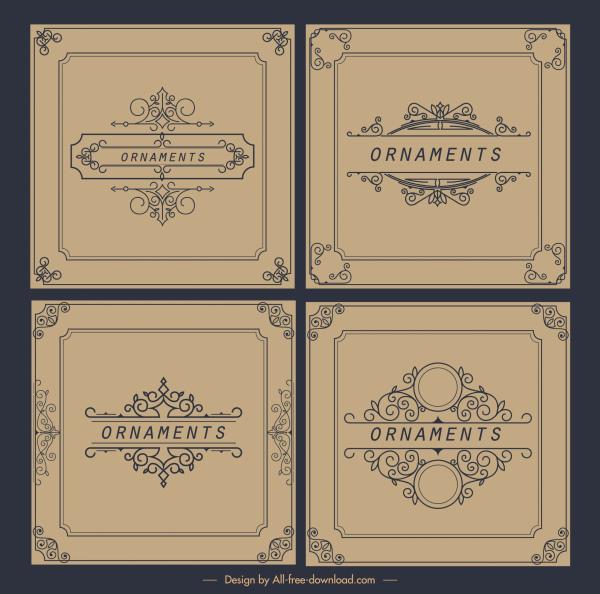 document decorative templates elegant european retro symmetric